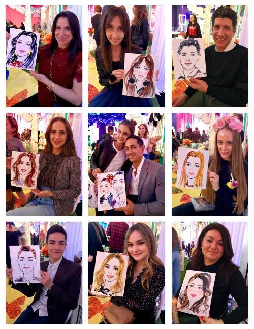 Retratos de desenho de evento ao vivo