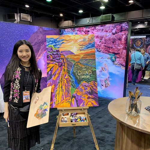 Live event drawing of girl with painting