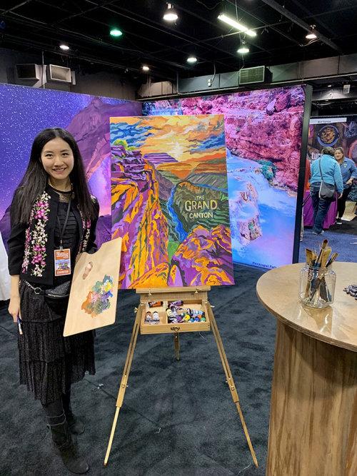 Desenho de evento ao vivo de menina com pintura