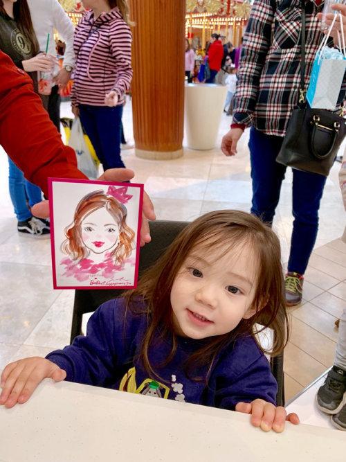 Desenho de evento ao vivo de uma linda garota asiática