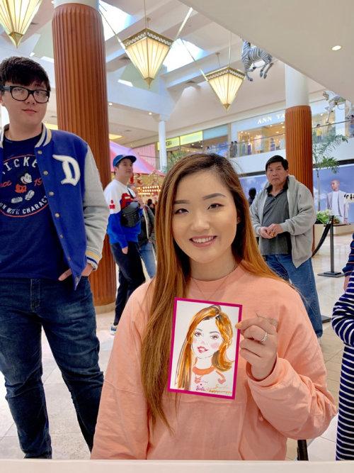 Desenho de evento ao vivo de menina asiática