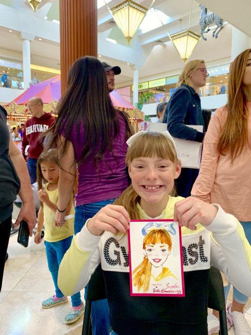 Desenho de evento ao vivo de garota sorridente
