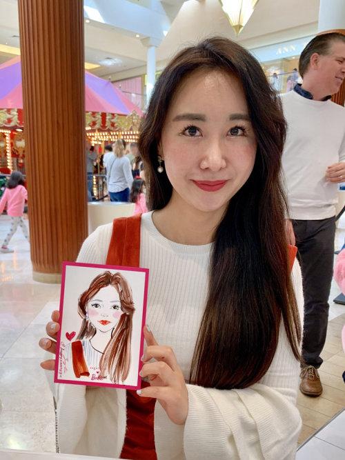 Desenho de evento ao vivo do retrato de uma menina asiática