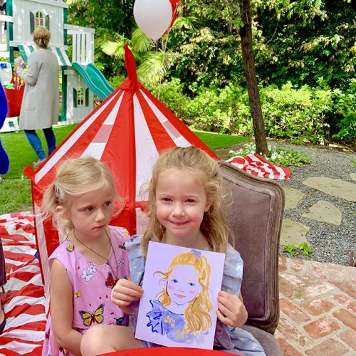 Live event drawing of Girls at birthday party