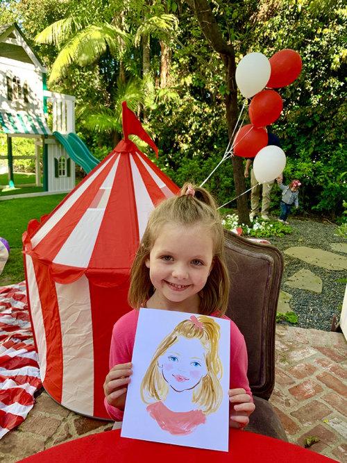 Desenho de evento ao vivo de linda garota