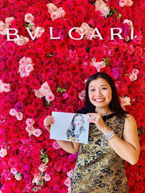 Evento ao vivo desenhando mulher no BVLGARI