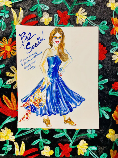 Fashion illustration of beautiful girl in blue gown