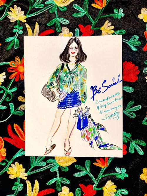 Evento ao vivo com desenho de mulher de saia azul
