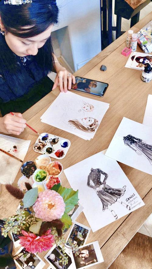 Desenho de evento ao vivo de retrato de moda