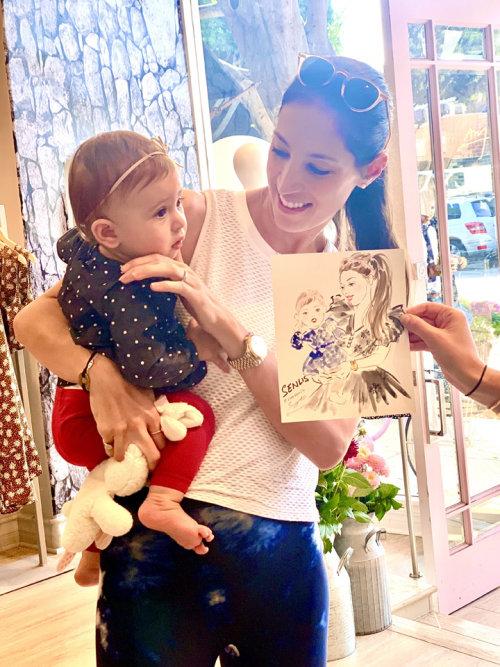 Desenho de evento ao vivo de mãe e filha