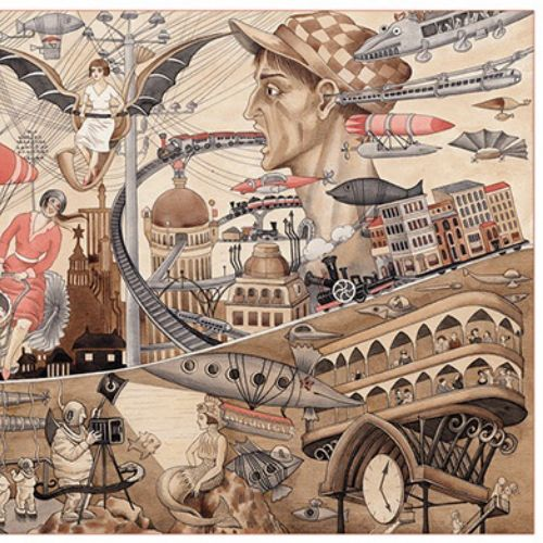 Decorative collage of people and flying objects