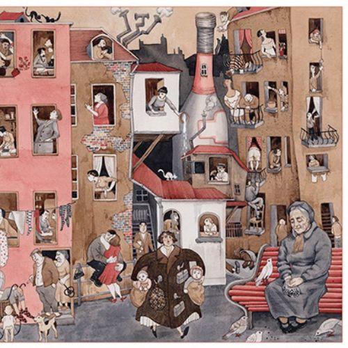 Decorative collage of people in buildings