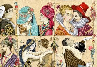 set of couples portraits retro illustration