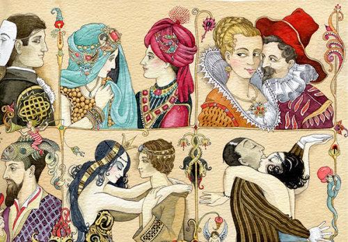 People couples portraits retro illustration