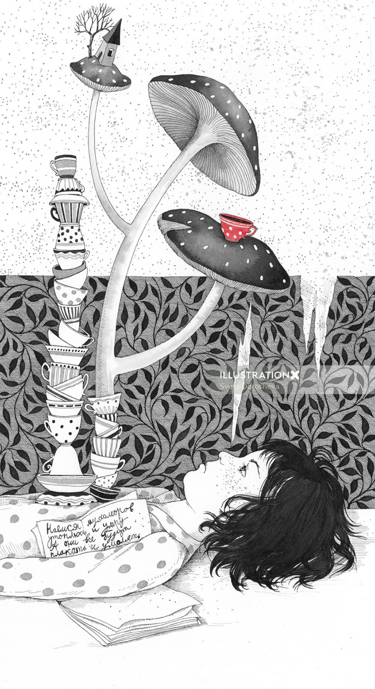 Black & white sketch of a girl