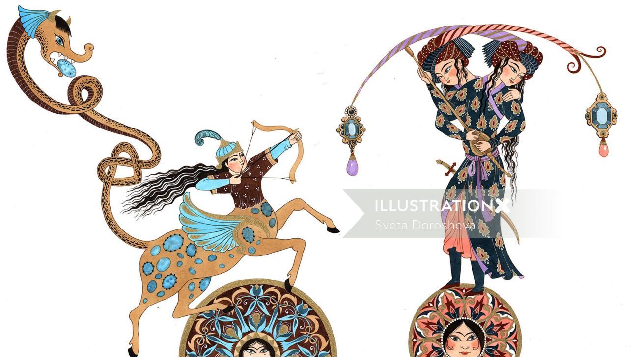 Fantasy art of sagittarius and gemini