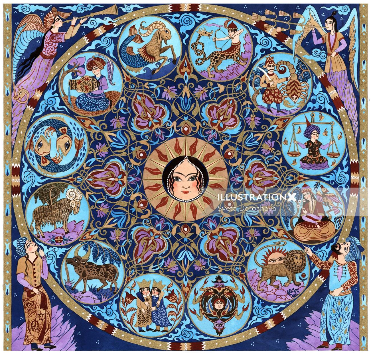 Decorative illustration of  zodiac signs