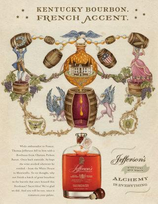 An Illustration For Jefferson's Bourbon Ad