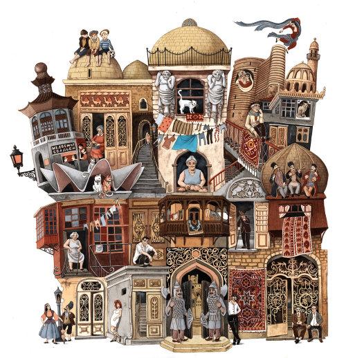 Fantasy architecture of building