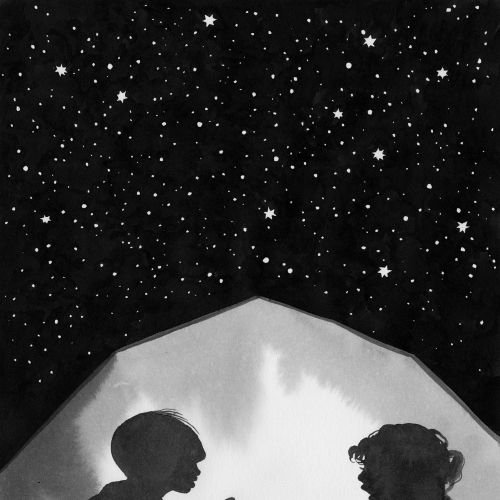 Black & White kids under starry sky