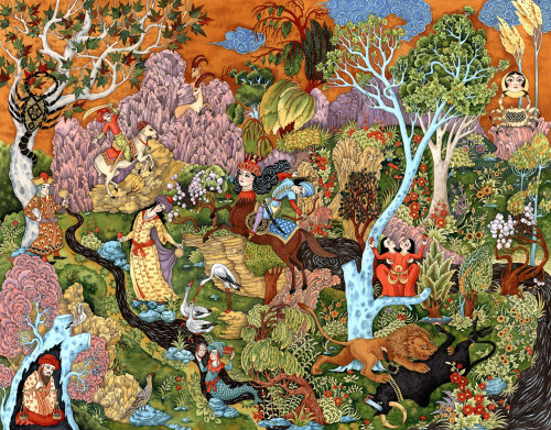 Decorative jungle with animals and people