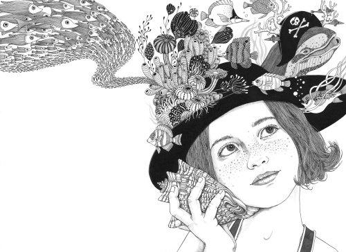 Decorative Black & White woman cap