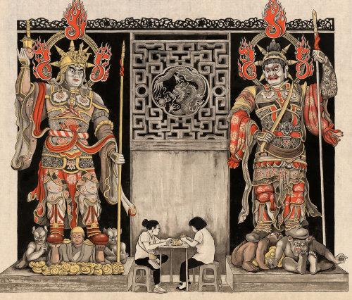 Decorative illustration of restaurant