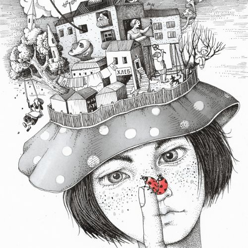 Architecture houses on hat illustration