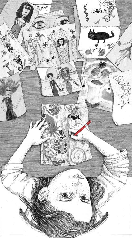 Uma ilustração de uma menina