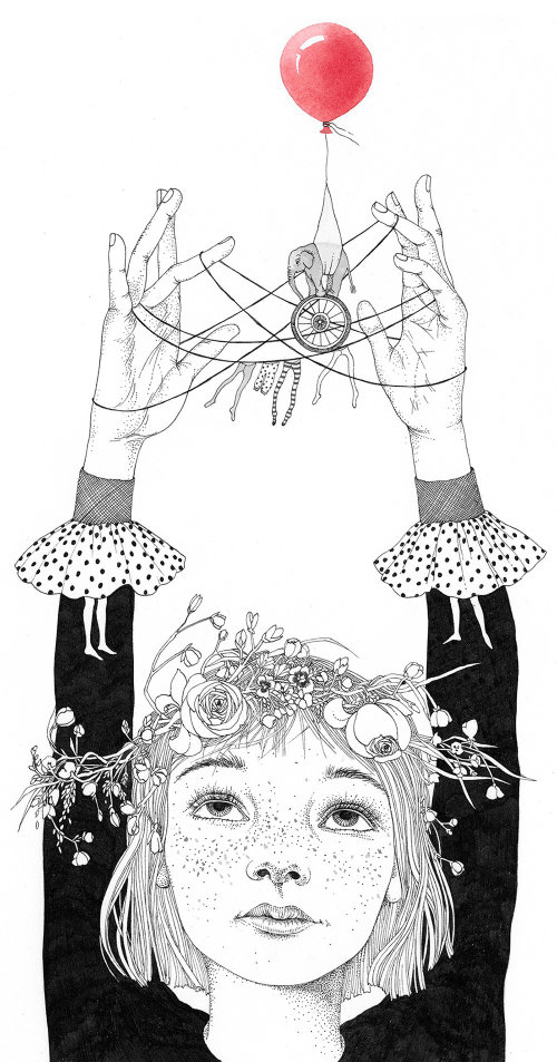 An illustration of a girl performing magic