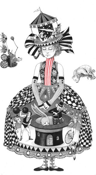 An illustration of a circus girl