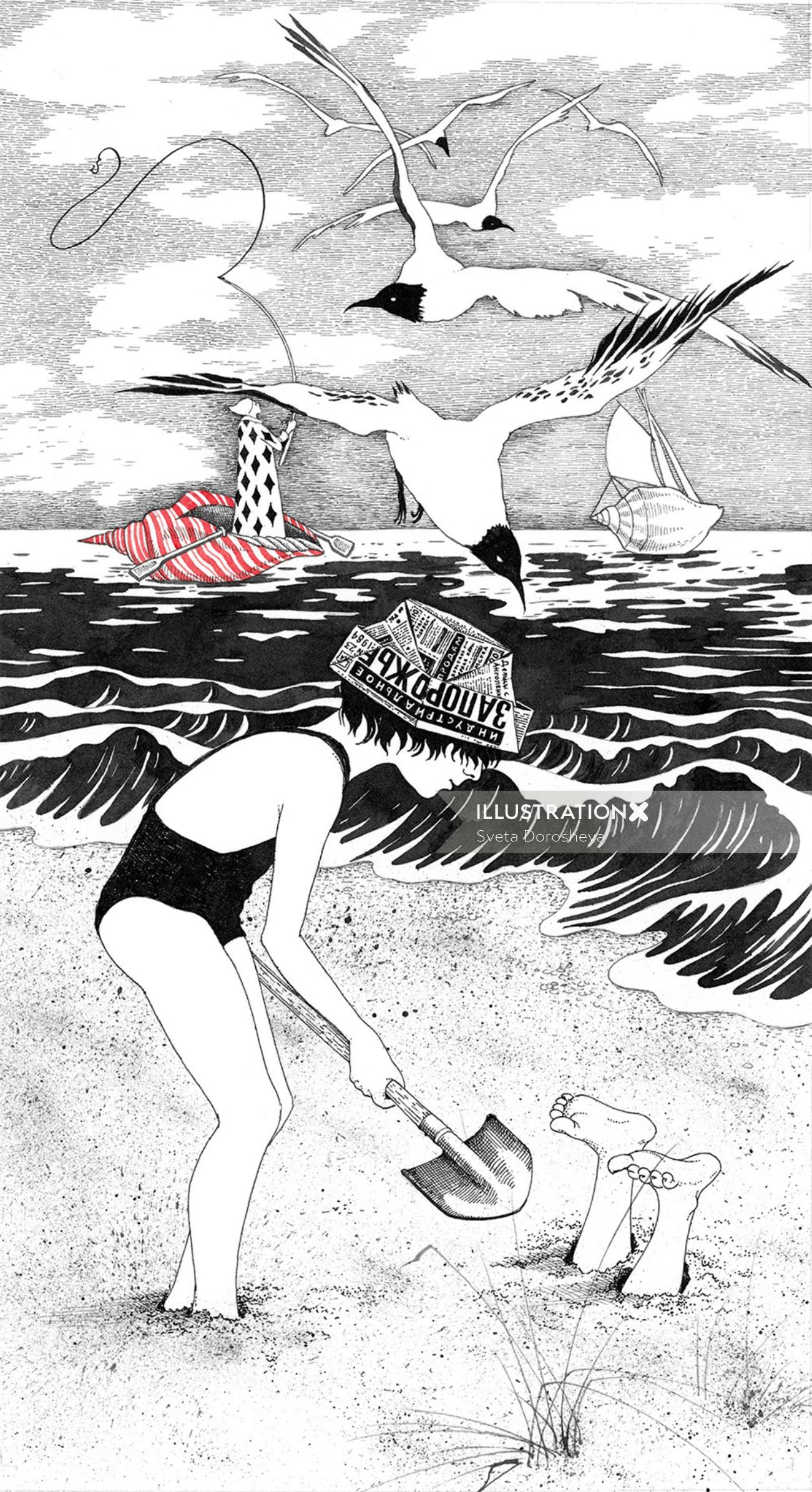 Girl playing at beach illustration