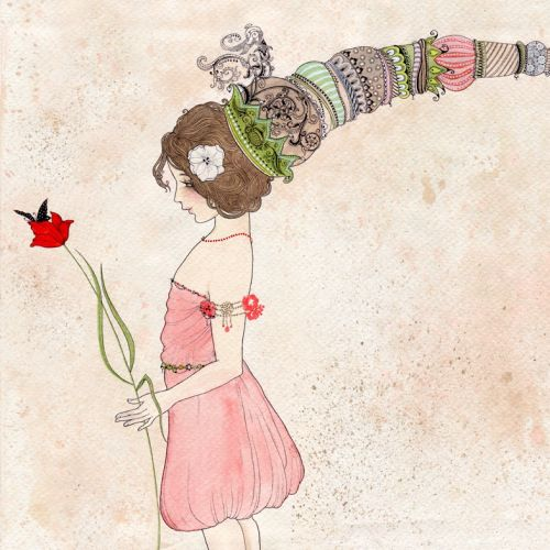 An illustration of a girl with a flower