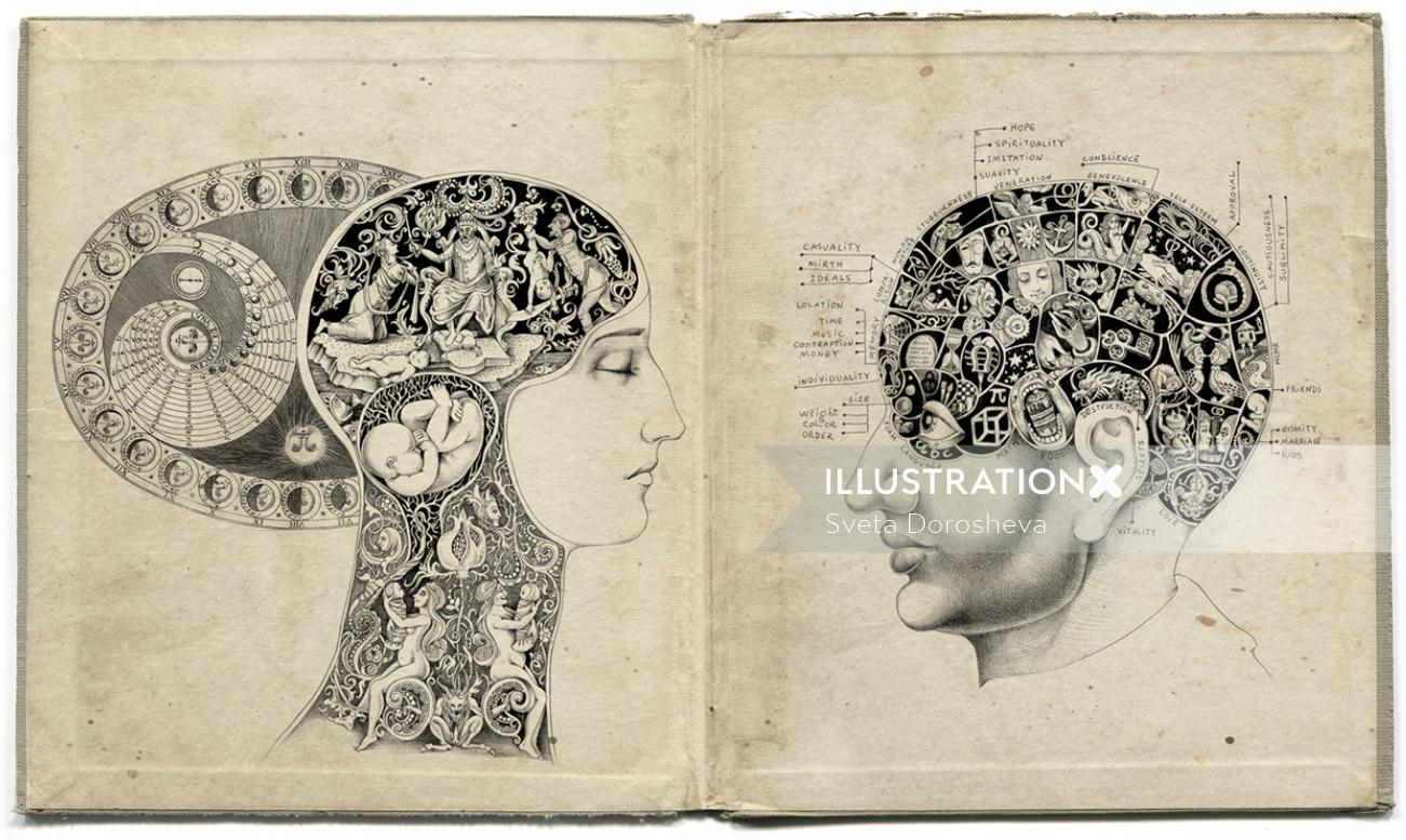 Quack Phrenology Science - Fantasy Art