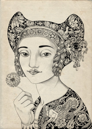 An illustration of woman with ornaments