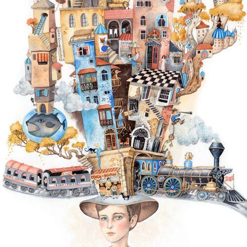 Buildings on hat illustration