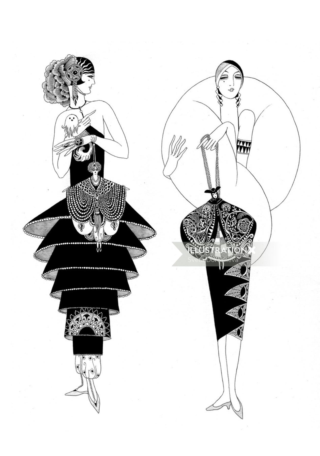 An illustration of lady in costume