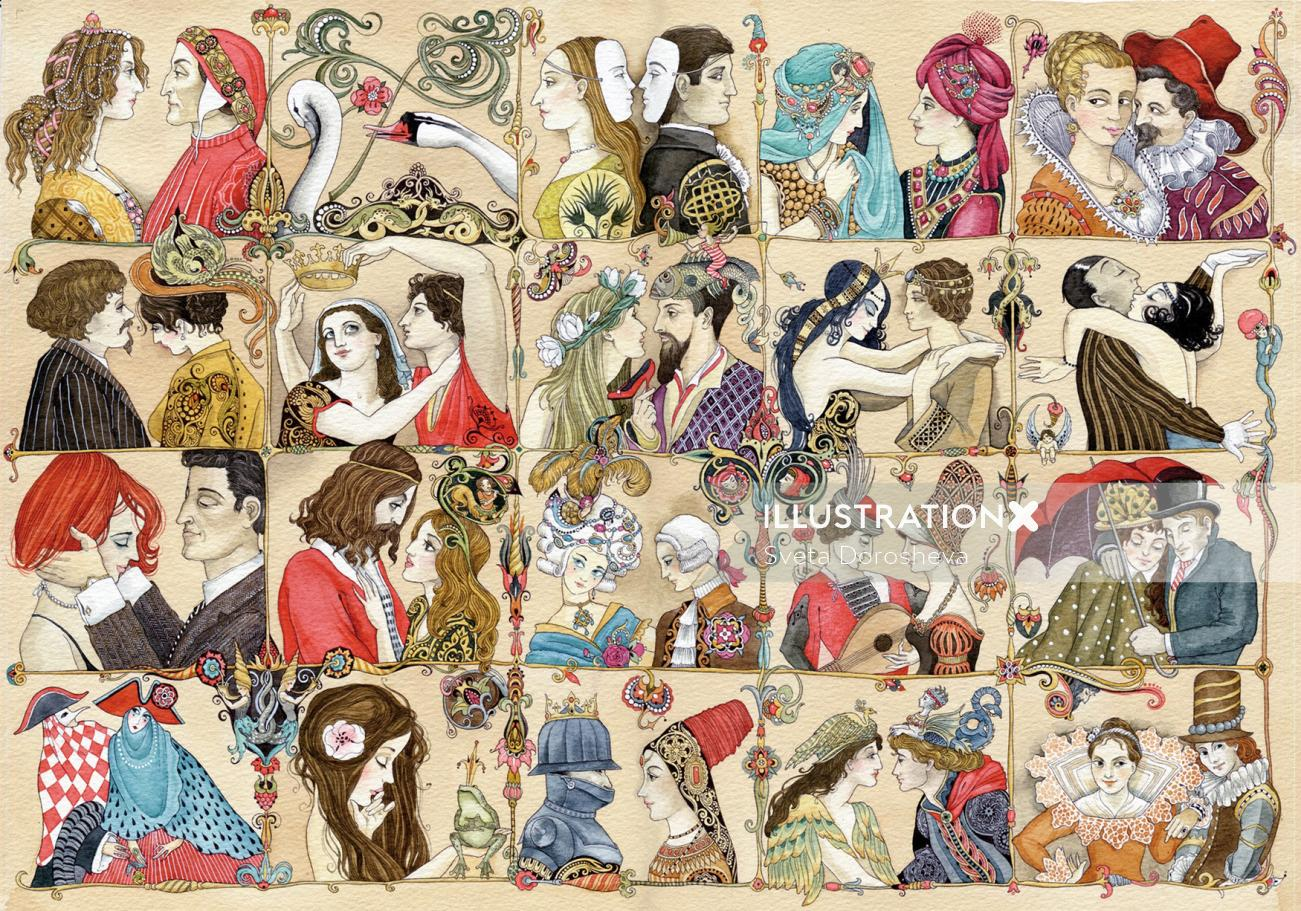 An illustration of couple collage