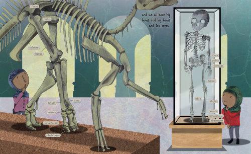 Children comparing Dinosaur and Human bone structure