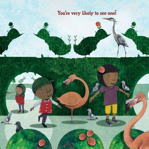 Cartoon children at bird park