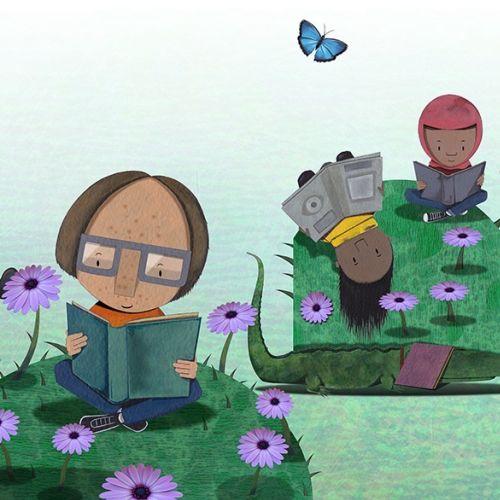 Children's reading books illustration