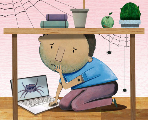 Editorial illustration of a scary boy for Virginia Living magazine