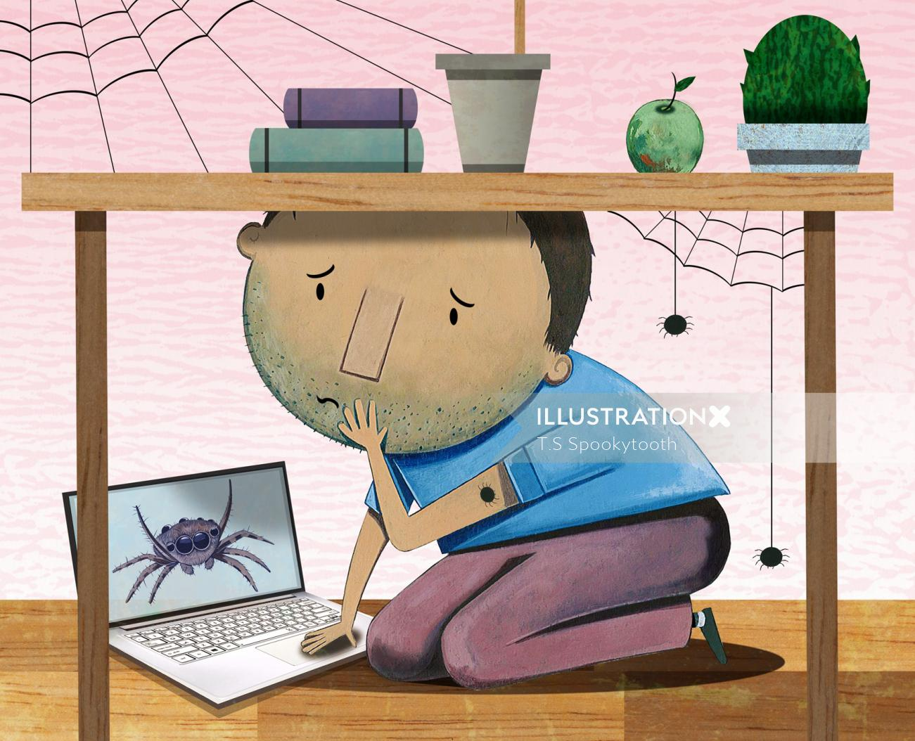 Children boy under table with webs