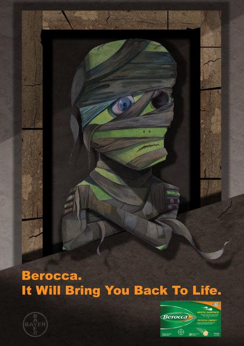 Berocca, Vitamin Supplement advertising illustration