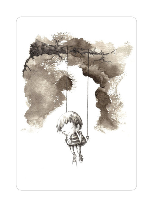 Little girl swinging illustration