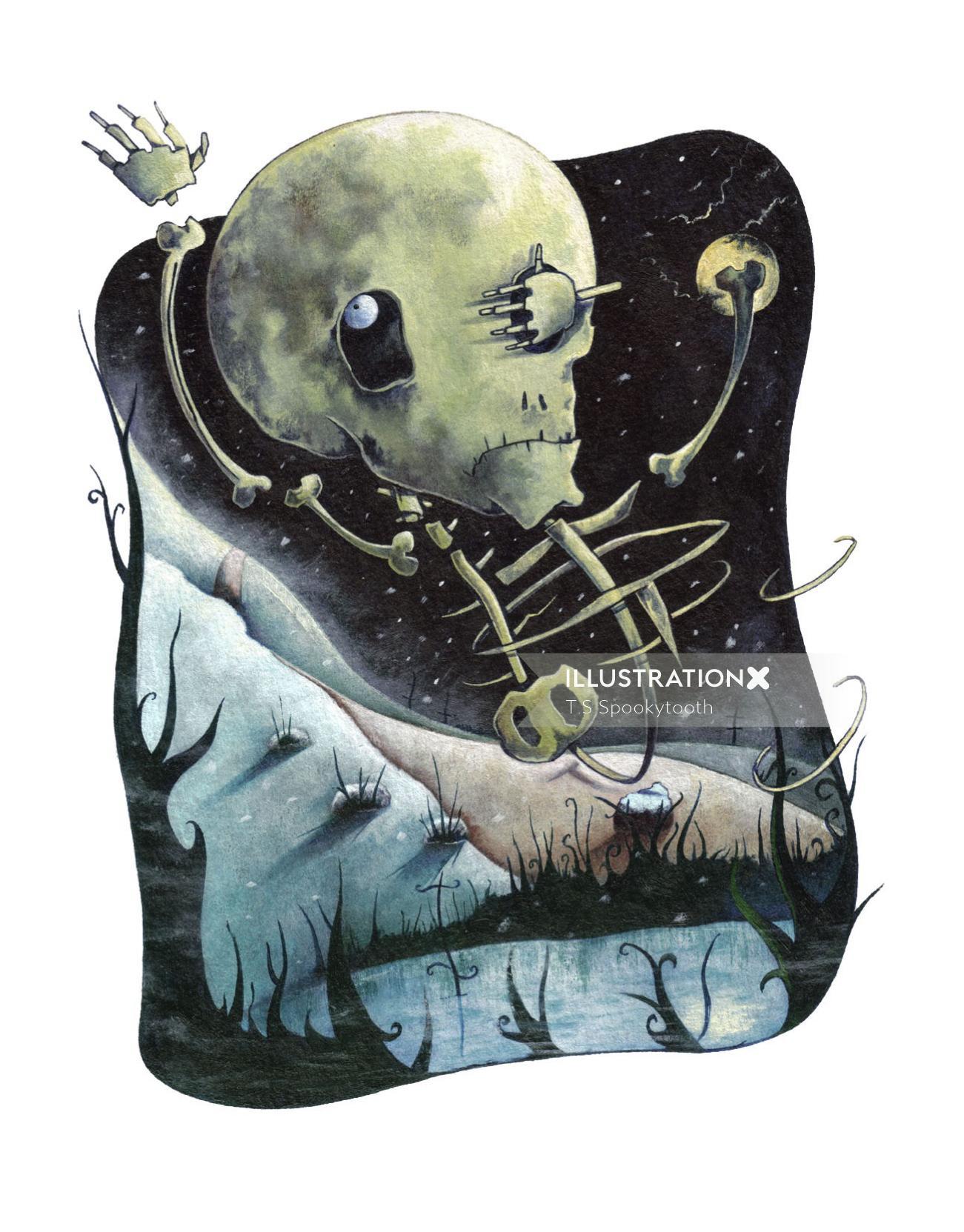 Graphic Skeleton illustration