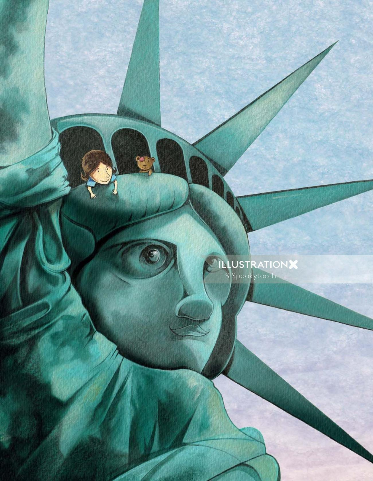 Acrylic painting of statue of liberty