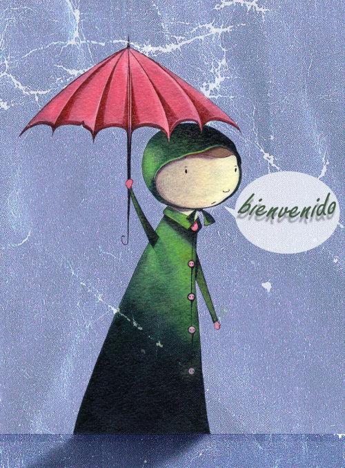 Cartoon woman holding Umbrella