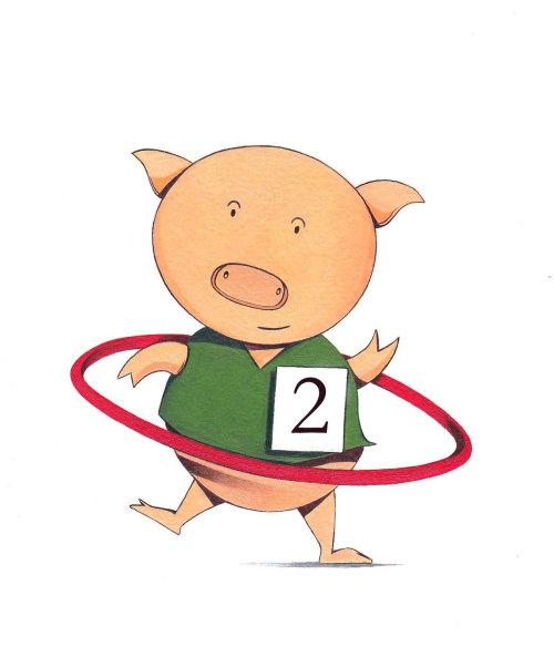 Cartoon happy Pig performing circus