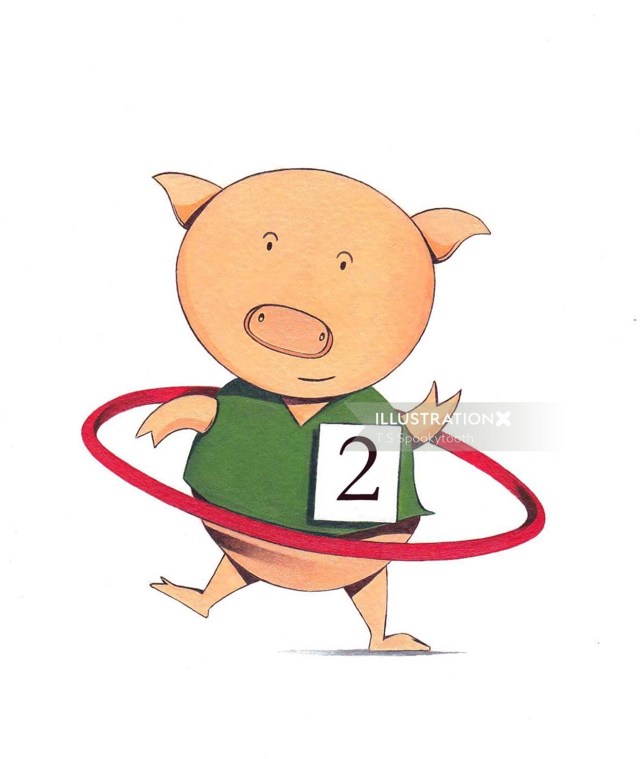 Cartoon Pig Performing Circus
